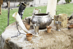Ancient medieval bowls Stock Image