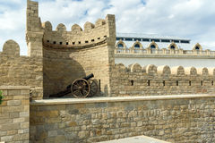 Ancient medieval cannon at tower of fortress in Old City, Baku Stock Photos
