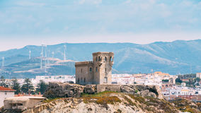 Ancient medieval Castle Tower in Tarifa, Andalusia Stock Photo