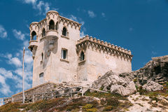 Ancient medieval Castle Tower in Tarifa, Andalusia Stock Photos