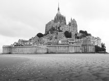 ancient medieval city and church in france, black and white Stock Photo