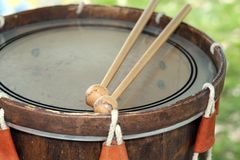 Ancient medieval drum with Sheepskin Stock Photo