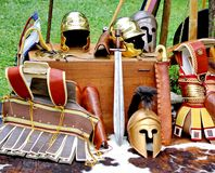 Ancient medieval helmets Royalty Free Stock Image