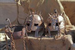 Ancient medieval helmets Royalty Free Stock Images