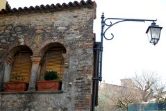 Ancient medieval house in Arquà Petrarca Veneto Italy Stock Photography