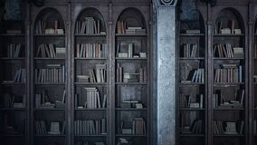 An ancient medieval library with old books and cobweb-covered bookshelves. Seamless looping animation is for fantasy
