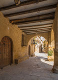 Ancient medieval porch gallery Calaceite Stock Photo