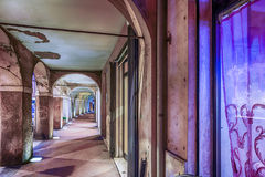 ancient medieval portico with arches and columns Royalty Free Stock Photo
