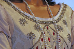 Ancient medieval princely dress with precious Pearl Necklace Royalty Free Stock Images