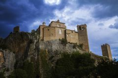 Ancient Medieval village of Alquezar knight`s Castle, Huesca province, Aragon, Spain.  Stock Images