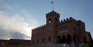 Castle wall and tower. Ancient and medieval wall of italian castle. Historical wonderful site stock photography