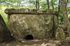 Ancient megalithic dolmen, front view Stock Images