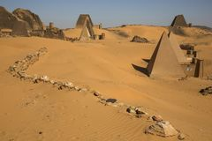 Ancient Meroe Pyramids in a desert in Sudan royalty free stock photography