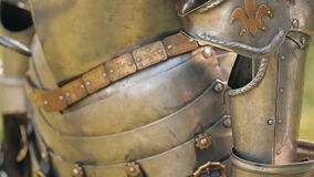Ancient metal armor. Of the medieval knight stock video footage