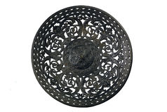 Ancient metal dish on a white background Stock Photos