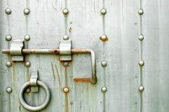 Ancient metal door background Royalty Free Stock Photos