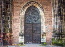 Ancient metal door. Close-up photo Royalty Free Stock Photos