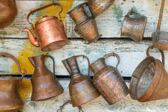 Ancient metal jugs in oriental style Stock Image