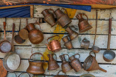 Ancient metal jugs in oriental style Royalty Free Stock Image