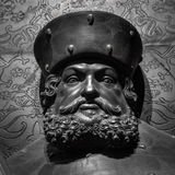 The ancient metal portrait of man with beard Stock Photos