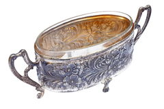 Ancient metallic pot over white Royalty Free Stock Photo