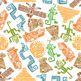 Ancient mexican seamless pattern with mayan totems Stock Photo