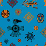 Ancient Mexican style pattern. Seamless pattern with various ancient mexican symbols Stock Photography
