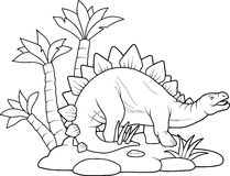 Ancient mighty Stegosaurus. For a walk Royalty Free Stock Image