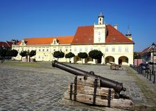 Ancient military war cannon in old part Tvrdja in the Croatian town of Osijek, on a square of the Holy Trinity dates from the time royalty free stock photos