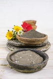 Ancient minerals - black clay powder and mud mask for spa and be Stock Image