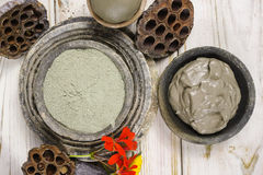 Ancient minerals - green clay powder and mud mask for spa and be Stock Photos