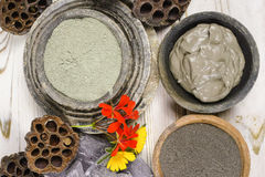 Ancient minerals - green clay powder and mud mask for spa and be Stock Image