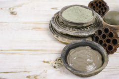 Ancient minerals - green clay powder and mud mask for spa and be Royalty Free Stock Image