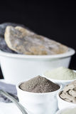 Ancient minerals - luxury face and body spa treatment, clay powd Stock Photo