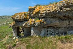Ancient mines in the mountain Opuk. Opuksky Reserve is located on southern coast of Kerch Peninsula. Stock Photo
