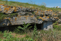Ancient mines in the mountain Opuk. Opuksky Reserve is located on southern coast of Kerch Peninsula. Royalty Free Stock Image