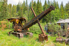 Ancient mining equipment in the yukon territories royalty free stock photo