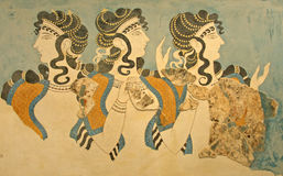 Ancient Minoan fresco Parisian women. Beautiful ancient Minoan fresco, so called Parisian women, Crete Island, Greece. Colors, shapes of stylized figure of women Stock Photos