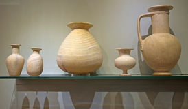 Ancient Minoan harmonious ceramic vases, Crete Island. Beautiful ancient Minoan ceramic vases, Crete Island, Greece. Elegant vases are valuable examples of Royalty Free Stock Images