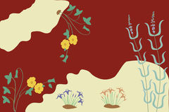 Ancient Minoan inspired flowers and colours. Ancient Minoan style flora with red and light background stock illustration