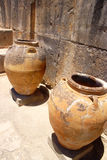 Ancient minoan jars at Phaistos Crete Stock Photos