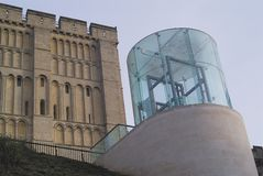 Ancient and modern. Controversial modern structure built in front of the ancient castle at Norwich, Norfolk Royalty Free Stock Photos