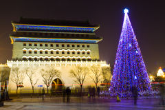 Ancient and modern Beijing. The night view of the ancient Qianmen tower, formerly the front gate of the Imperial City. Beijing China and modern Christmas lights royalty free stock photos