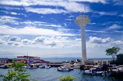 Harbour at city of Istanbul!!. Ancient and modern combination Royalty Free Stock Photo