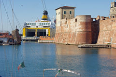 ancient and modern: port of Livorno Stock Photo