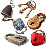 Ancient, modern and romantic padlocks with keys and door bell. Locks in shape of heart, lions head and floral ornament. Ancient, modern and romantic padlocks Royalty Free Stock Photography