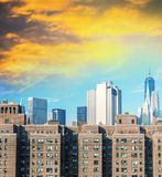 Ancient and modern skyscrapers of New York - Manhattan skyline a royalty free stock photography