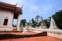 Ancient Mon temple architecture at wat Sing Royalty Free Stock Images
