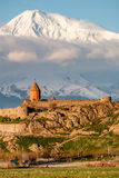 Ancient monastery in front of mountain. Ancient monastery Khor Virap in Armenia with Ararat mountain at background at sunrise. Was founded in years 642-1662 Royalty Free Stock Photography