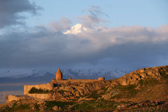 Ancient monastery in front of mountain. Ancient monastery Khor Virap in Armenia with Ararat mountain at background. Was founded in years 642-1662 Royalty Free Stock Photos